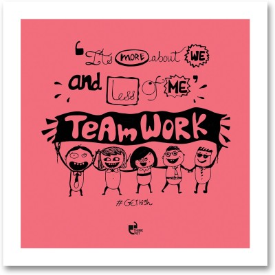 Thinkpot Its More About We And Less Of Me -Doodle Motivational White Square Frame Paper Print