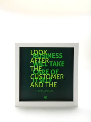 Thinkpot Look after the customer - Ray Kroc, McDonalds White Box Frame Paper Print