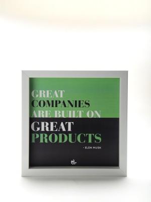 Thinkpot Great companies are built - Elon Musk White Box Frame Paper Print