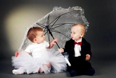 Child,s Love - Cute Little Couples Paper Print
