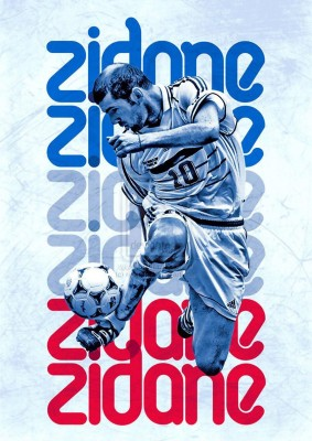 Zidane Soccer Love A3 Cotton Canvas High Quality Printed Poster - Wall Art Print (Size : 11.7 x 16.5) , For Bedroom , Living Room, Kitchen, Office, Room Canvas Art