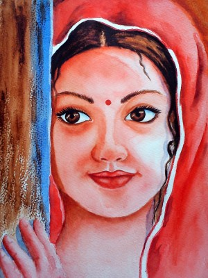 Oshi - Indian Girl Fine Art Paper Print(18 inch X 12 inch, Streched)