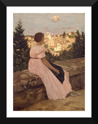 Tallenge Old Masters Collection - The Pink Dress by Frédéric Bazille - Premium Quality A3 Size Framed Poster Paper Print