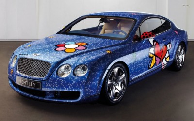 Athah 2009 Romero Britto Bentley Continental GT Poster Paper Print