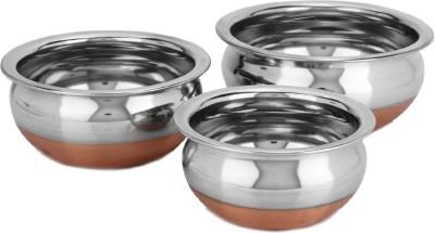 Manya Copper Bottom Purpu Chetty Pot 1000 ml, 650 ml, 450 ml(Stainless Steel)