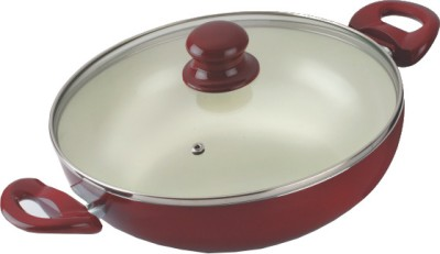 Alda Ceramic Coated Wok with Glass Lid Kadhai