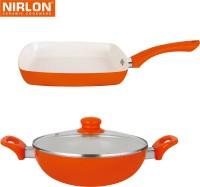 NIRLON Cooking Ceramic Non Stick Induction Kadhai, Pan Set
