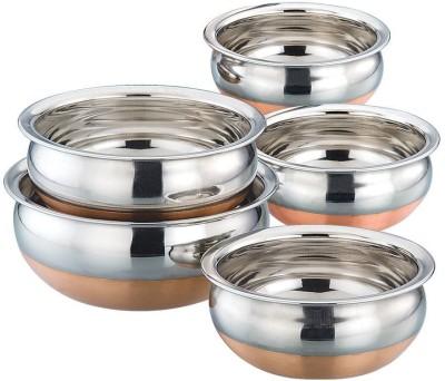 Manya COPPER BOTTOM PURPU CHETTY SET OF 5 Handi 350 ml, 500 ml, 750 ml, 1100 ml, 1500 ml(Stainless Steel, Non-stick)