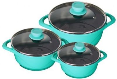 Wonderchef Ceramide Set Aqua Marine Pot 4 L, 2.25 L, 1.25 L(Aluminium, Non-stick)