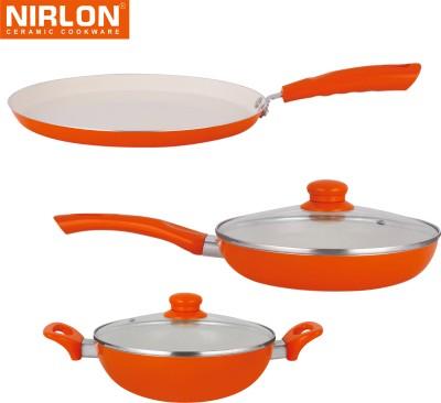 NIRLON Cooking Ceramic Non Stick Induction Tawa, Pan, Kadhai Set(Aluminium, Ceramic, PTFE (Non-stick), Non-stick) at flipkart