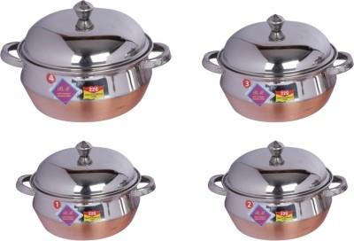 BM Copper botttom cook and serve Handi 0.5 L, 1 L, 1.5 L, 2 L(Stainless Steel)