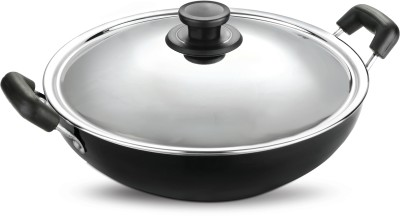 Pigeon Non Stick with SS Lid 300 mm Kadhai 3 L(Aluminium, Non-stick)