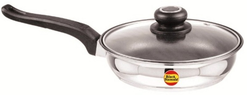 Black Diamond Non Stick Fry Pan with Glass Lid 22 cm Pan 22 cm diameter(Non-stick)