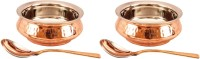 Indian art villa Set of 2 Steel Copper Mughlai Handi with Spoon Kadhai 1.3 L