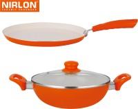 NIRLON Cooking Ceramic Non Stick Induction Tawa, Kadhai Set