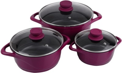 Wonderchef Ceramide Set pink Pot 1.25 L, 2.25 L, 4 L(Aluminium, Non-stick)