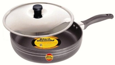 Black Diamond Non Stick Fry Pan with Stainless Steel Lid 21.5 cm Black Pan 21.5 cm diameter