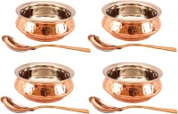 Indian art villa Set of 4 Steel Copper Mughlai Handi with Spoon Handi 2.6 L