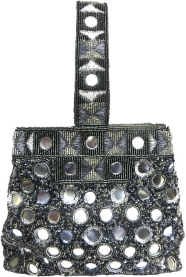 Kawaii GREY GLASS BEADED CLUTCH HAND BAG Potli