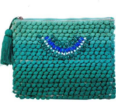 Diwaah Diwaah!! Green pom pom beautiful embroidery pouch. Pouch