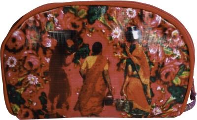 Garam Masala Big Round Pouch Cosmetic Bag(Multicolor)