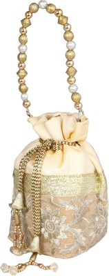 PRETTY KRAFTS Fashionable Golden Potli