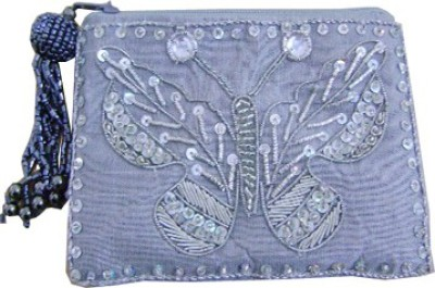Himalaya Handicraft Handmade Embroidered Designer Grey Zari Butterfly Coin Purse