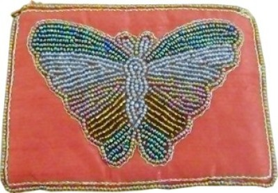 Himalaya Handicraft Handmade Embroidered Designer Red Butterfly Coin Purse
