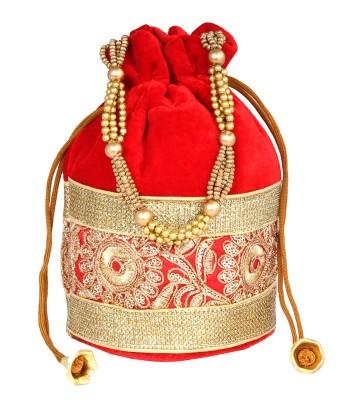 PRETTY KRAFTS Fashionable Red Potli