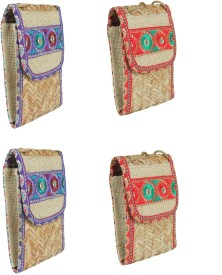 Sheen Combo Of 4 Jute Mobile Pouches Pouch(Multicolor)