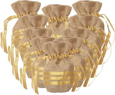 Kohl Set of 10 Potli Bags Medium Gold Wristlet