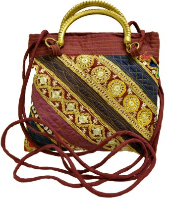 The India Craft House Bhopal Beaded Potli(Red)