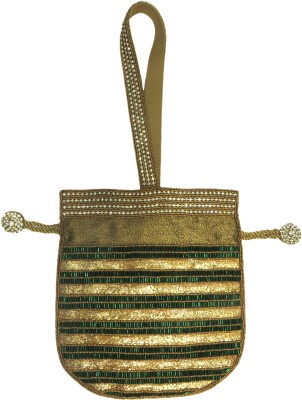 Kawaii Golden Potli With Green Pipe Beads Potli