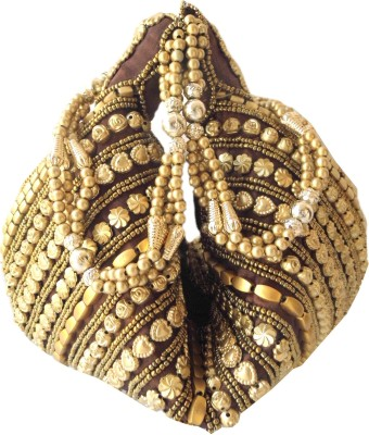GiftPiper Handmade Satin Beadwork Potli Bag- Brown Potli