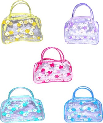 Blossoms 5 PCs Transparent for Kids -Carry Bag , Makeup and Jewellery Vanity Multi Purpose , Small Storage with Zipper -baby care Potli