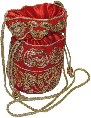 Bagathon India Elegant Heavy Golden Work Traditional Potli [RED] Potli