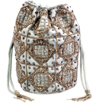 Diwaah Diwaah!! Hand crafted white embellished potli Pouch