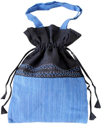 Villcart Cotton Pouch Bag - Blue and Black Potli