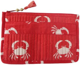 Needlecrest Cotton Quilted Pouch(Red, Red)