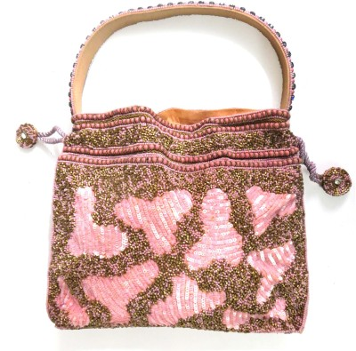 Kawaii PEACH COLOR MIXED BEADS BAG Potli