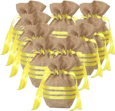 Kohl Set of 10 Potli Bags Large Yellow Wristlet