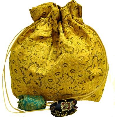 The India Craft House Banarasi Potli(Yellow)