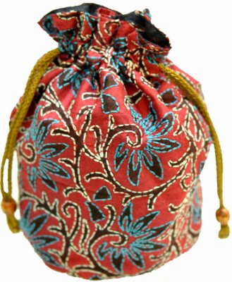 The India Craft House Kutch Emboidered Potli(Red, Blue)