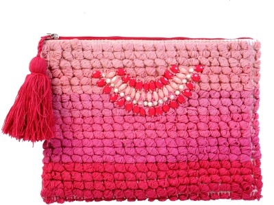Diwaah Diwaah!! Pink pom pom beautiful embroidery pouch. Pouch