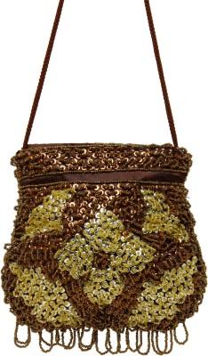 Galz4ever Fabric satin Brawn & Gold hand Bag Potli