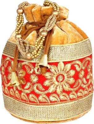 PRETTY KRAFTS Fashionable Golden Red Potli