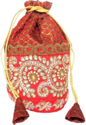 GiftPiper Brocade & Embroidered Lace Potli-Red Potli
