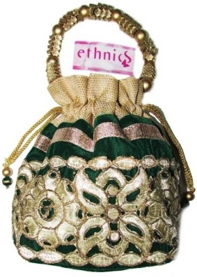 Ethnics Cutwork Green Pouch