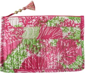 Needlecrest Cotton Quilted Pouch(Pink)
