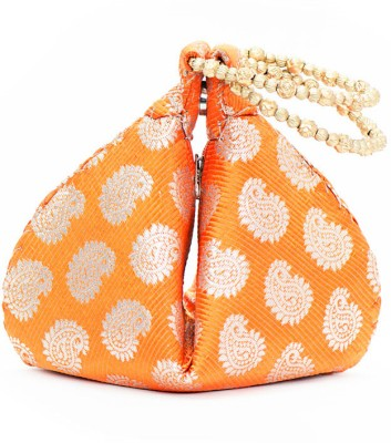 VERMELLO Orange Designer Potli Pouch